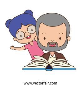 father daughter with book