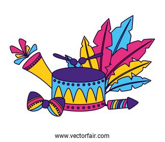 drum instrument with feathers carnival