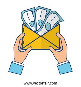 hands with envelope and  money