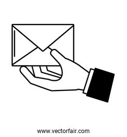 hand with mail envelope