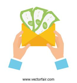 hands with envelope money