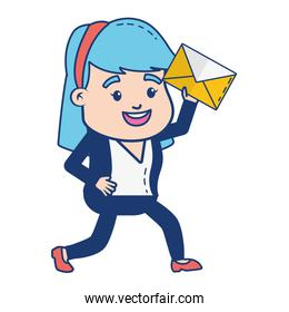 woman with mail envelope