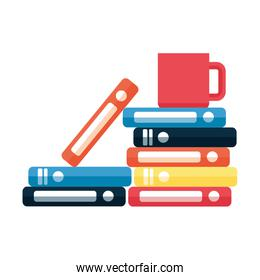 books stacked and coffee cup