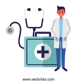 doctor man with medical kit and stethoscope