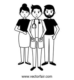 doctor with man and woman