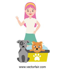 woman and animals pet grooming
