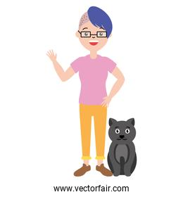 woman character and cat pet
