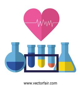 medical flasks beaker heartbeat