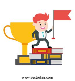 businessman with flag trophy on books