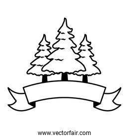 pine trees forest ribbon