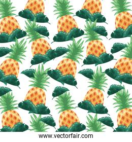 pineapple tropical fruits  foliage background