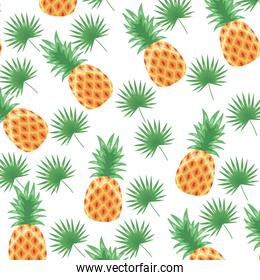 pineapple tropical fruits background