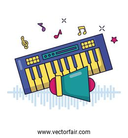 synthesizer and megaphone music festival