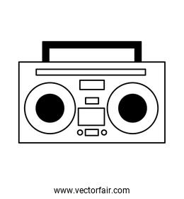 boombox stereo music on white background
