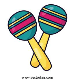 maracas instrument music festival on white background
