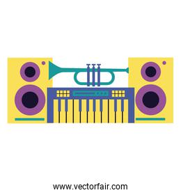 synthesizer and trumpet speakers music festival