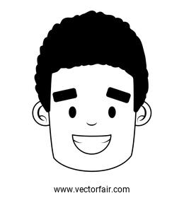 face man character on white background