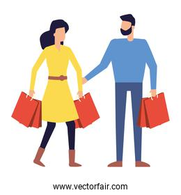 man and woman customer with shopping bags
