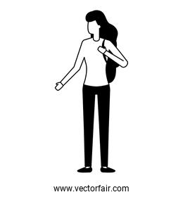 woman with backpack character white background