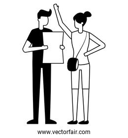man with document and woman with bag
