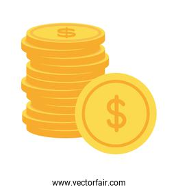 coins money cash stacked on white background