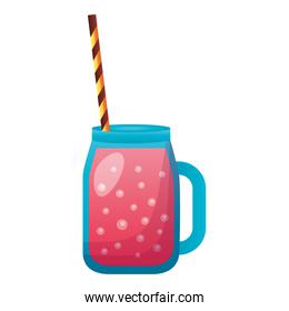 juice with straw white background