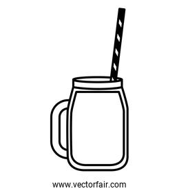 juice with straw on white background