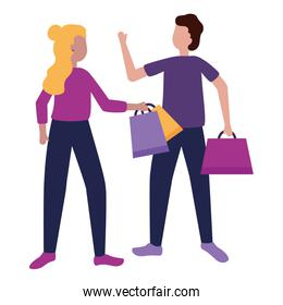 man and woman with shopping bags flat design