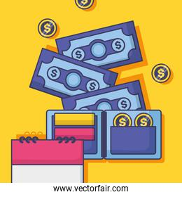 Money and financial icon set design