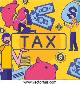 Avatar woman and man with tax vector design