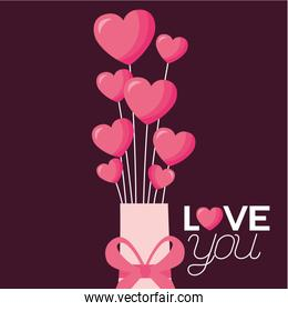 Love represented by hearts and gift vector design