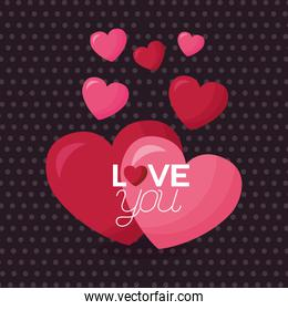 Love represented by hearts vector design