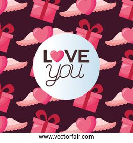Love represented by hearts and gifts vector design