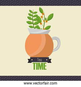 Tea pot with leaves vector design