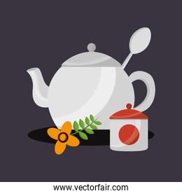 Tea pot and sugar bowl vector design
