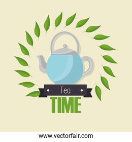 Tea pot and leaves vector design