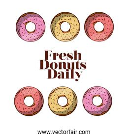 Donuts of bakery vector design