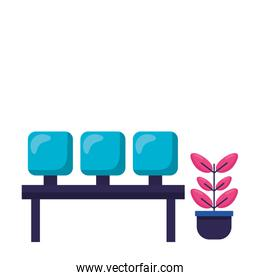 Isolated airport seats vector design