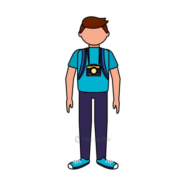 Isolated traveler man vector design