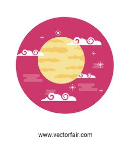 Isolated moon and clouds vector design