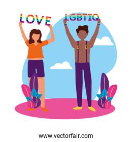 Woman and man supporting lgtbiq march design