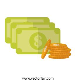 Isolated bills and coins vector design