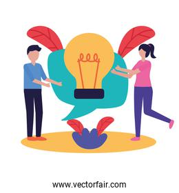 Woman and man with teamwork icon vector design