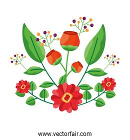 Isolated flowers with leaves ornament design