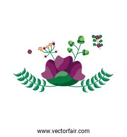 Isolated flower with leaves ornament design