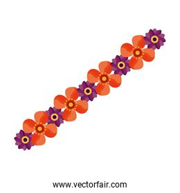 Isolated flowers line vector design
