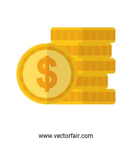 Isolated coins vector design