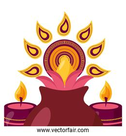 lotus flower in vase with candles diwali fest