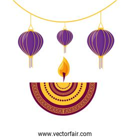 diwali fest lamps hanging with candle ethnicity icon