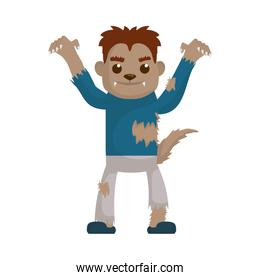 little boy with werewolf costume character